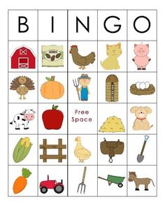 Practice farm-themed vocabulary words and inferences while playing this fun BINGO game. All you need to do is laminate the BINGO cards and cut out the calling cards. This download includes 5 different BINGO cards with 24 different pictures related to a farm.