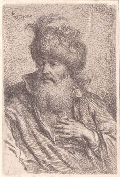 G. B. Castiglione Head of a Oriental with a Turban Etching #Realism