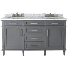 Color and style of the vanity - Home Decorators Collection Sonoma 60 in. Double Vanity in Dark Charcoal with Marble Vanity Top in Grey/White with White Basin Home Depot Bathroom Vanity, Bathroom Cabinets, Master Bathroom, Bathroom Ideas, Bathroom Mirrors, Bathroom Caulk, Bathroom Scales, Bathroom Marble, Vanity Mirrors
