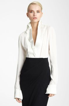 Silk White Dress Donna Karan | Donna Karan New York Collection Satin Featherweight Crepe Blouse in ...