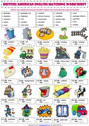 American and British English ESL Vocabulary Worksheets