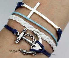 Silvery Anchor & Cross braceletWax cord braided rope by vividiy, $3.39