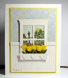 Madison Window die with yellow tulips.