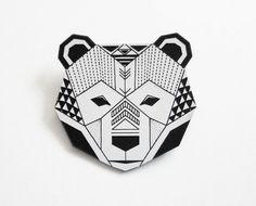 origami inspired bear head brooch