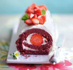 strawberry velvet roulade