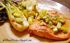Grilled Salmon & Bok Choy with Orange-Avocado Salsa. Awesome summer grilling recipe