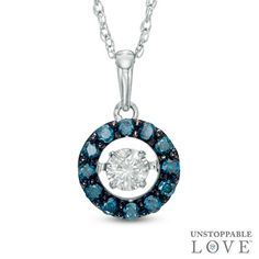 Unstoppable Love™ 1/3 CT. T.W. Enhanced Blue and White Diamond Frame Pendant in 10K White Gold