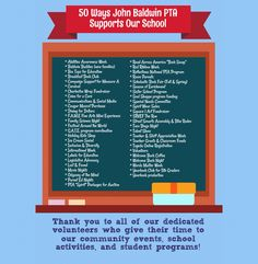50 ways JB PTA supports our school