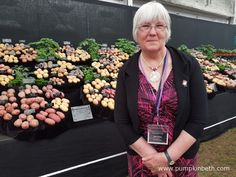 Ann Innes with her and Morrice's amazing display of potatoes in the Great Pavilion at the RHS Chelsea Flower Show 2016.