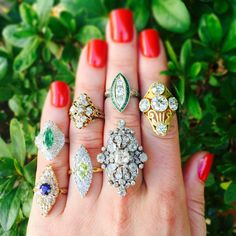 """""""Can't get enough of these navette shaped #antique #diamond #rings with sapphires and #emeralds at #CraigEvanSmall! #vintagejewelry"""""""