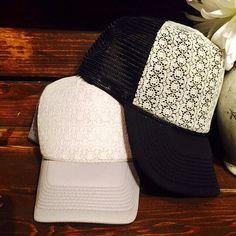 Creamy lace on black brim women s trucker hat. by ArieBdesigns Custom Hats da391445bf6d