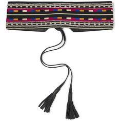 Isabel Marant Embellished embroidered cotton and leather belt ($495) ❤ liked on Polyvore featuring accessories, belts, black, beaded belt, boho belt, studded leather belt, beaded leather belt and tie belt