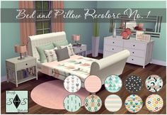 Bed and Pillow Recolors Set OneThis is my first recolor set of mattresses with matching pillows. This set includes double mattress, single mattress, double pillows and small pillow in 10 different. Sims 4 Teen, Sims Four, Sims Cc, Sims 4 Mods, Muebles Sims 4 Cc, Sims 4 Bedroom, Sims 4 Studio, Casas The Sims 4, Maxis