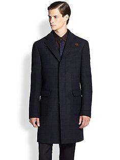 Salvatore Ferragamo Wool Plaid Overcoat $2600