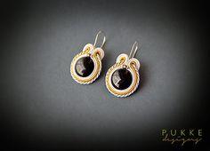 Soutache earrings Black earrings White earrings Black and by pUkke