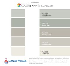 Johanna Gaines colors we can all afford. Let's make our homes Johanna chic Sherwin-Williams: Silver Strand (SW 7057), Oyster Bay (SW 6206), Mindful Gray (SW 7016), Repose Gray (SW 7015), Alabaster (SW 7008).