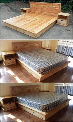 Most Recent DIY Wood Pallet Projects and Ideas Funky style of the wood pallet bed frame with side tables creation has been put forward here with the wood pallet bedroom furniture outlook taste. Diy Wood Pallet, Wooden Pallet Projects, Diy Pallet Furniture, Furniture Projects, Wood Pallets, Pallet Ideas, Wood Furniture, Furniture Stores, Furniture Online