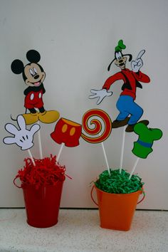 6 Mickey's Clubhouse character centerpieces by HandmadecardsbyHJM