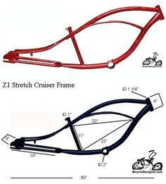 "Inlcudes:Z1 STRETCH Cruiser frame RED This frame can use the following wheels and forks.24"" or 26"" rear wheel with up to 3"" wide tire 26"" springer bent or straight fork and a 22.2mm headset Chopper fork with a 1"" triple tree and a 1"" threadless headset"