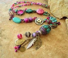 Junk Gypsy Assemblage Necklace Southwest Bohemian by BohoStyleMe