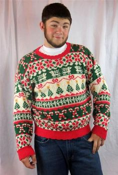 Ugly Christmas Sweater Pullover Xmas Tree Candy Canes Holly Ribbon Large Holiday | eBay