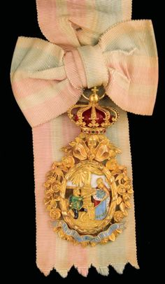 Order of Saint Isabel (Portugal) - Badge and sash belonged to Queen D. Maria Pia (1847-1911) (J. A. da Costa, Lisboa, c. 1860. 91mm x 51mm)