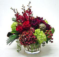 Euro-style Christmas Centerpiece: Antique hydrangea, dahlias, orchids, artichoke