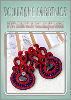 Handmade Shop, Etsy Handmade, Handmade Items, Handmade Gifts, Etsy Jewelry, Boho Jewelry, Unique Jewelry, Soutache Earrings, Etsy Earrings