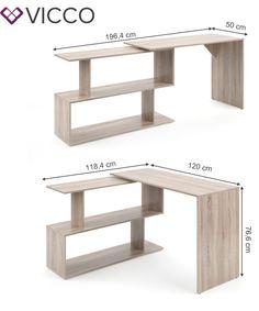 Vicco Eckschreibtisch LEVIA Sonoma Eiche - PC Tisch   real Table Pc, Dining Bench, Computer, Furniture, Home Decor, Dance Floors, Work Desk, Homemade Home Decor, Table Bench