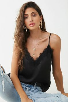 Fashion Tips For Girls Satin Lace-Trim Cami Satin Tank Top, Satin Top, Satin Cami, Black Satin, Tank Top Outfits, Outfits Con Camisa, Lace Camisole, Black Lace Tops, Look At You