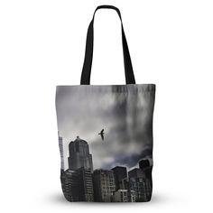 """Sylvia Cook """"Seattle Skyline"""" City Clouds Everything Tote Bag from KESS InHouse"""