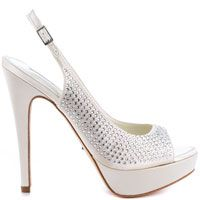 Glamour - Ivory 11 - Channel sophistication and beauty in the dazzling Glamour by David Tutera.  A brilliant ivory satin drapes over the silhouette while sparkling with rhinestones.   An adjustable slingback strap, 5 1/2  - http://womens-highheels.com/s_ZDTUT009-11_glamour-ivory-11