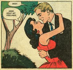 "Comic Girls Say.. ""Here..hold my feelings ! Okay.. #comic #popart #vintage"