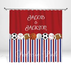 Personalized Sports Shower Curtain By ItsPerfectlyPosh On Etsy 6800