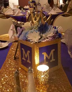 Centerpieces at a royal prince birthday party! See more party ideas at CatchMyParty.com!