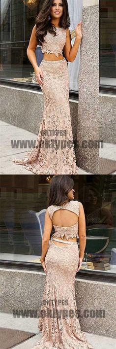 Two Piece Lace Prom Dresses, Sleeveless Prom Dresses, Open- back Prom Dresses, Sabrina Mermaid Prom Dresses, TYP0195 #promdresses