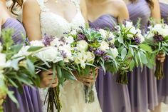 Lavender and cream, Georgia botanical gardens wedding. Bride's dress is by Stella York