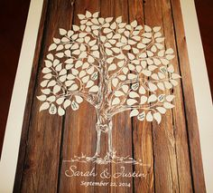 Invitado libro árbol boda madera árbol libro boda por fancyprints