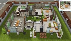 Sims Freeplay Quests and Tips: The Scandinavian House Sims 4 House Building, Sims House Plans, House Floor Plans, The Sims, Sims Freeplay Houses, Sims 4 Houses, Small Room Design Bedroom, Sims Free Play, Modern Deck