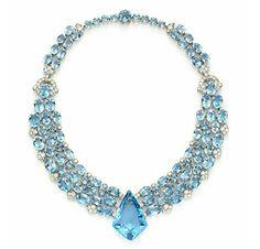 Antique Jewelry An Art Deco Aquamarine and Diamond Necklace, by Cartier, circa 1938 Cartier Necklace, Cartier Jewelry, Antique Jewelry, Jewelery, Vintage Jewelry, Bijoux Art Deco, Art Deco Jewelry, Fine Jewelry, Jewelry Design