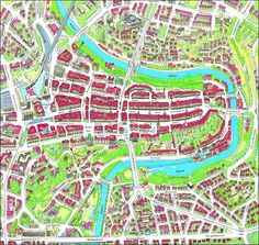 Bern city center large detailed panoramic map.