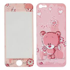 Hot Sale Front  Back Protector Stickers for iPhone 5 (Lovely Bear Pattern)