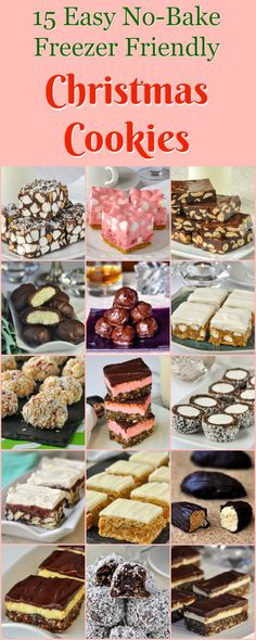 No Bake Christmas Cookies. Now UPDATED to 25 freezer friendly recipes! No Bake Christmas Cookies - 15 easy recipes that are freezer friendly too! A collection of popular no bake cookies that are perfect for Christmas treats. Christmas Cookie Exchange, Christmas Sweets, Christmas Cooking, Holiday Desserts, Holiday Baking, Holiday Recipes, Christmas No Bake Treats, Easy Desserts, Silver Christmas