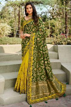 Designer Mehendi Color Embroidered Banarasi Silk Saree With Lemon Color Blouse #banarasisaree #indiansarees #sarees #weddingsarees #dress #indiandress #womensfashion #clothes #diyandcrafts #lifestyle #sareestyle #wedding #silksareeblousedesigns #silkweddingdress Indian Designer Sarees, Designer Sarees Online, Lemon Green Colour, Anarkali Dress, Lehenga Gown, Trendy Suits, Silk Saree Blouse Designs, Ethnic Looks, Soft Silk Sarees