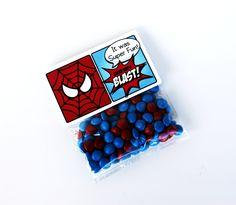 "Superhero Collection (Spiderman). Favor Tags (5"" fold over). DIY Printable Design. Pinkadot Shop. $6.00, via Etsy."