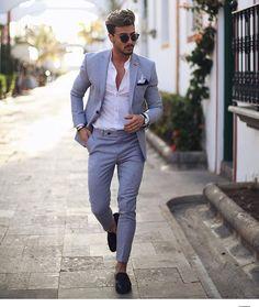 Mens grey linen suit - -