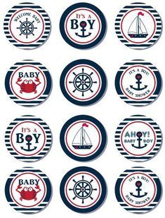 Items similar to Nautical Baby Shower Cupcake Toppers,Favor Tags, Ahoy - Anchor - It's a Boy Printable DIY Yellow Navy - ONLY digital file - you print on Etsy Baby Shower Cupcakes For Boy, Cupcakes For Boys, Baby Shower Cupcake Toppers, Baby Shower Favors, Baby Shower Themes, Baby Boy Shower, Diy Cupcake, Shower Party, Shower Ideas