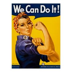 We Can Do It! Rosie the Riveter Vintage WWII Print #history #WWII #RosietheRiveter #wecandoit #americanhistory