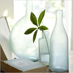 Re-purposed sea glass adds color, texture and sophistication to tabletop.
