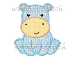 Baby hippo applique machine embroidery design by FunStitch on Etsy